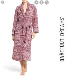 Barefoot Dreams CozyChic Robe Bordeaux & White